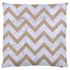 Chevron9 White Marble & Sand (r) Large Cushion Case (one Side)