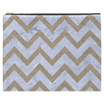 CHEVRON9 WHITE MARBLE & SAND (R) Cosmetic Bag (XXXL)  Front