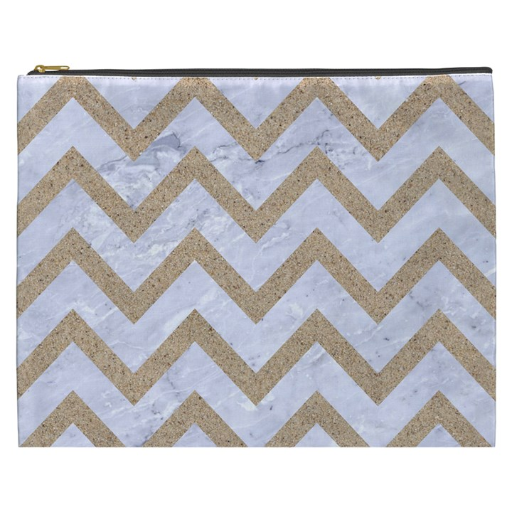 CHEVRON9 WHITE MARBLE & SAND (R) Cosmetic Bag (XXXL)