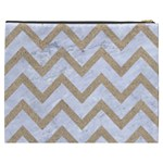 CHEVRON9 WHITE MARBLE & SAND (R) Cosmetic Bag (XXXL)  Back