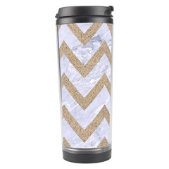 Chevron9 White Marble & Sand (r) Travel Tumbler by trendistuff