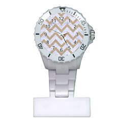 Chevron9 White Marble & Sand (r) Plastic Nurses Watch by trendistuff