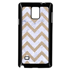 Chevron9 White Marble & Sand (r) Samsung Galaxy Note 4 Case (black)