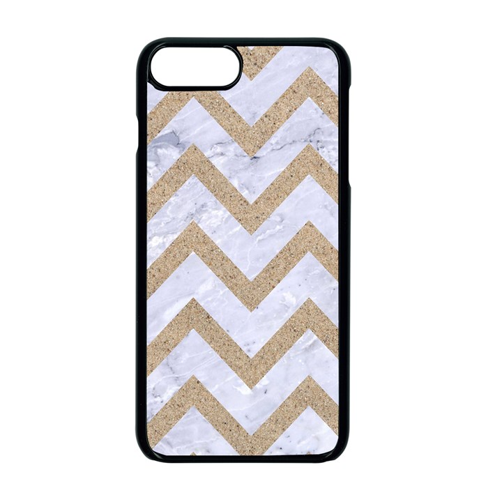 CHEVRON9 WHITE MARBLE & SAND (R) Apple iPhone 7 Plus Seamless Case (Black)