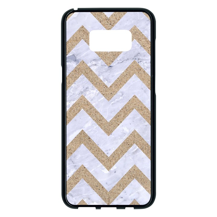 CHEVRON9 WHITE MARBLE & SAND (R) Samsung Galaxy S8 Plus Black Seamless Case