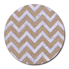 Chevron9 White Marble & Sand Round Mousepads by trendistuff