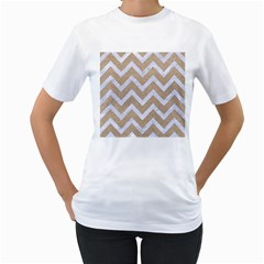 Chevron9 White Marble & Sand Women s T Shirt (white) (two Sided) by trendistuff