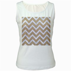Chevron9 White Marble & Sand Women s White Tank Top by trendistuff