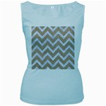 CHEVRON9 WHITE MARBLE & SAND Women s Baby Blue Tank Top Front