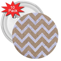 Chevron9 White Marble & Sand 3  Buttons (10 Pack)  by trendistuff