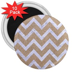 Chevron9 White Marble & Sand 3  Magnets (10 Pack)  by trendistuff