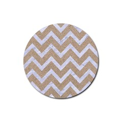 Chevron9 White Marble & Sand Rubber Round Coaster (4 Pack)  by trendistuff