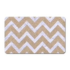 Chevron9 White Marble & Sand Magnet (rectangular) by trendistuff