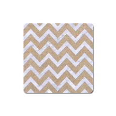 Chevron9 White Marble & Sand Square Magnet by trendistuff