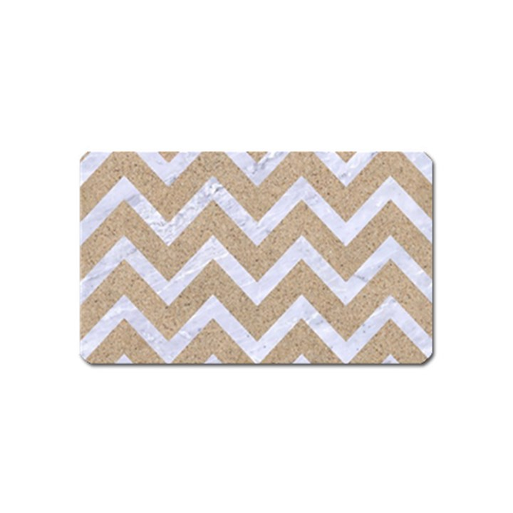 CHEVRON9 WHITE MARBLE & SAND Magnet (Name Card)