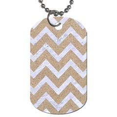 Chevron9 White Marble & Sand Dog Tag (one Side) by trendistuff