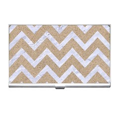 Chevron9 White Marble & Sand Business Card Holders by trendistuff