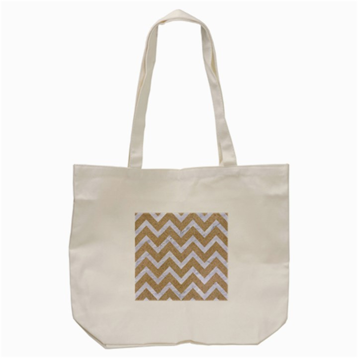 CHEVRON9 WHITE MARBLE & SAND Tote Bag (Cream)