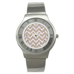 Chevron9 White Marble & Sand Stainless Steel Watch by trendistuff