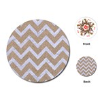 CHEVRON9 WHITE MARBLE & SAND Playing Cards (Round)  Front