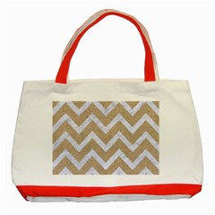 Chevron9 White Marble & Sand Classic Tote Bag (red) by trendistuff