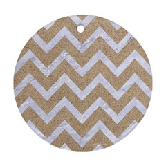 Chevron9 White Marble & Sand Round Ornament (two Sides) by trendistuff