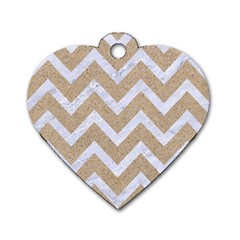 Chevron9 White Marble & Sand Dog Tag Heart (one Side) by trendistuff