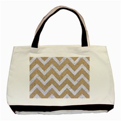 Chevron9 White Marble & Sand Basic Tote Bag (two Sides) by trendistuff
