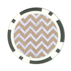 Chevron9 White Marble & Sand Poker Chip Card Guard by trendistuff