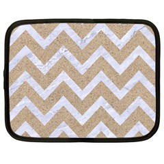 Chevron9 White Marble & Sand Netbook Case (large) by trendistuff