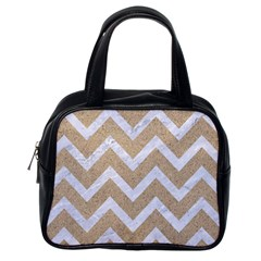 Chevron9 White Marble & Sand Classic Handbags (one Side) by trendistuff