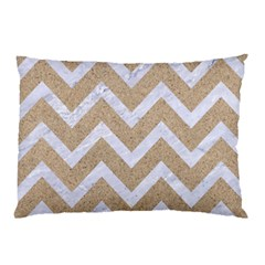 Chevron9 White Marble & Sand Pillow Case by trendistuff