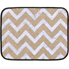 Chevron9 White Marble & Sand Fleece Blanket (mini) by trendistuff