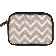 Chevron9 White Marble & Sand Digital Camera Cases