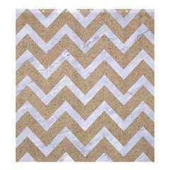 Chevron9 White Marble & Sand Shower Curtain 66  X 72  (large)  by trendistuff