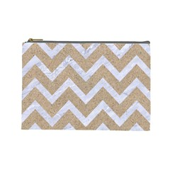 Chevron9 White Marble & Sand Cosmetic Bag (large)  by trendistuff