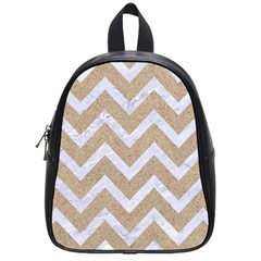 Chevron9 White Marble & Sand School Bag (small) by trendistuff