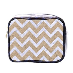 Chevron9 White Marble & Sand Mini Toiletries Bags by trendistuff