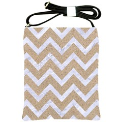 Chevron9 White Marble & Sand Shoulder Sling Bags by trendistuff
