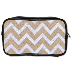 Chevron9 White Marble & Sand Toiletries Bags 2 Side by trendistuff