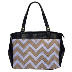 Chevron9 White Marble & Sand Office Handbags by trendistuff
