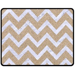 Chevron9 White Marble & Sand Fleece Blanket (medium)  by trendistuff