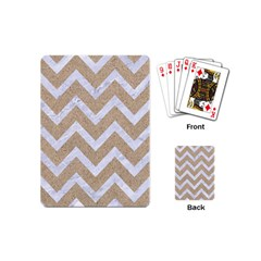 Chevron9 White Marble & Sand Playing Cards (mini)  by trendistuff
