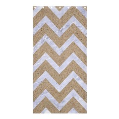 Chevron9 White Marble & Sand Shower Curtain 36  X 72  (stall)  by trendistuff