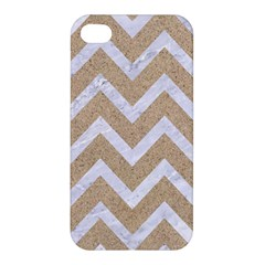Chevron9 White Marble & Sand Apple Iphone 4/4s Premium Hardshell Case by trendistuff