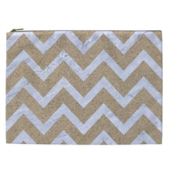 Chevron9 White Marble & Sand Cosmetic Bag (xxl)  by trendistuff
