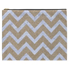 Chevron9 White Marble & Sand Cosmetic Bag (xxxl)  by trendistuff