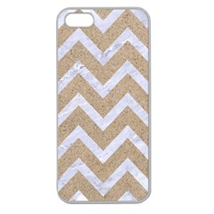 Chevron9 White Marble & Sand Apple Seamless Iphone 5 Case (clear) by trendistuff