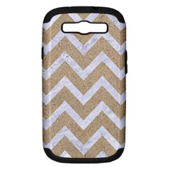 Chevron9 White Marble & Sand Samsung Galaxy S Iii Hardshell Case (pc+silicone) by trendistuff