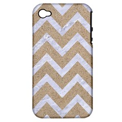 Chevron9 White Marble & Sand Apple Iphone 4/4s Hardshell Case (pc+silicone) by trendistuff